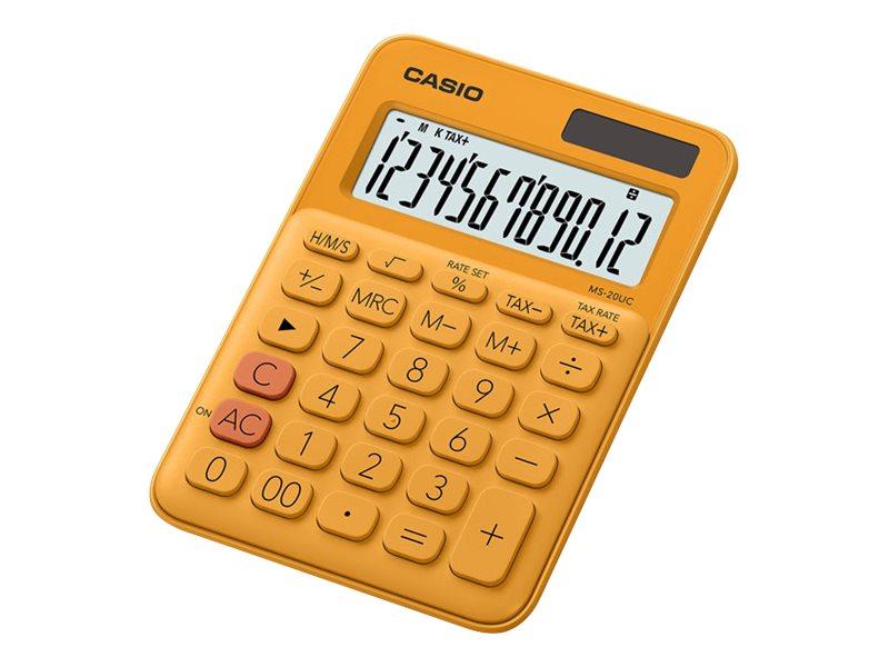 Calculatrice de bureau Casio MS-20UC - 12 chiffres - alimentation batterie et solaire - orange