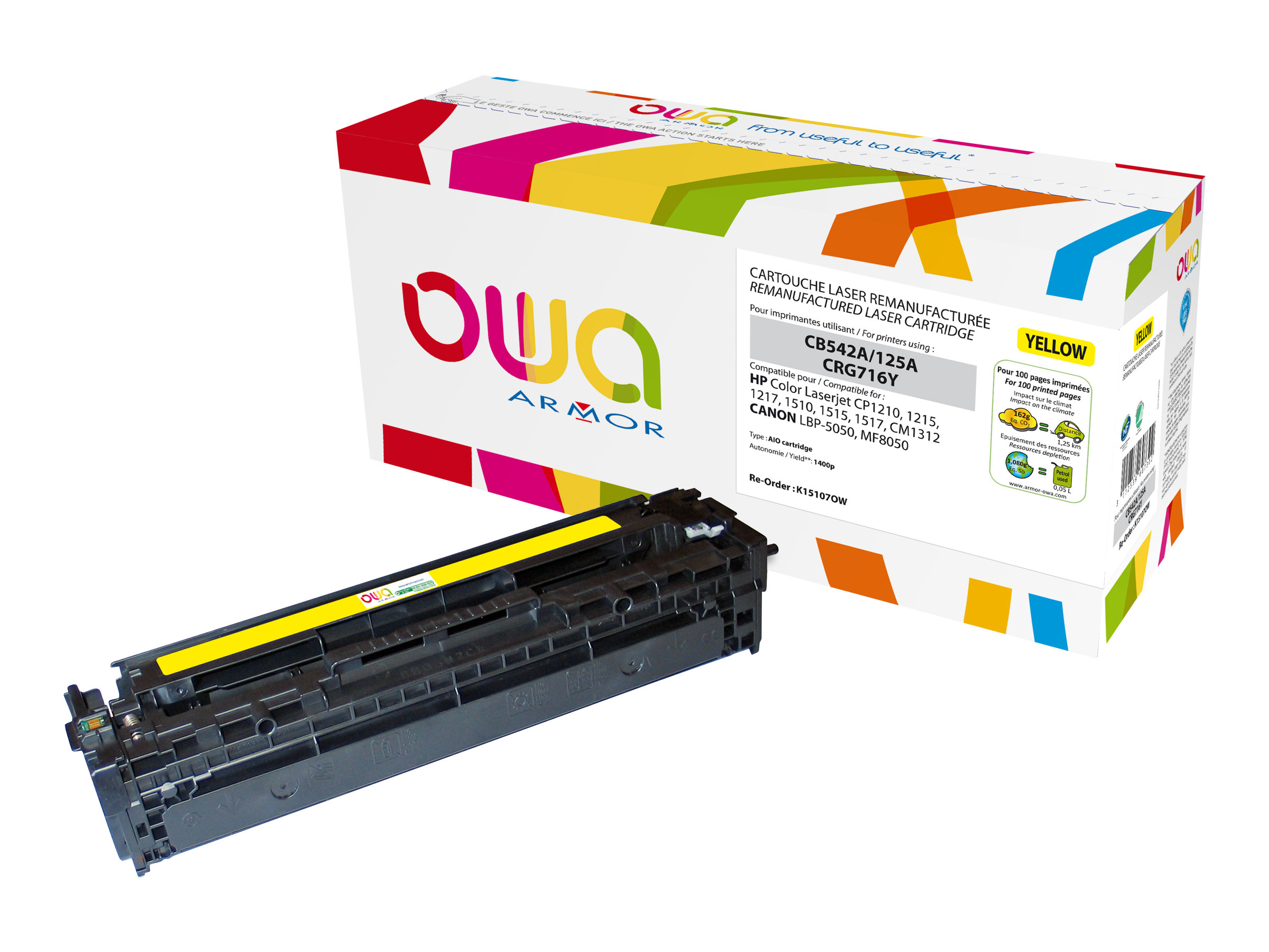 HP 125A - remanufacturé Owa K15107OW - jaune - cartouche laser