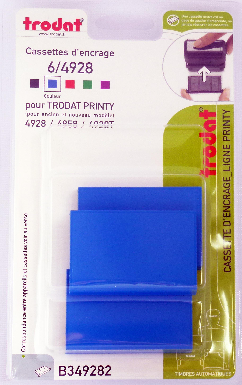 Trodat - 3 Encriers 6/4928 recharges pour tampon Printy 4928/4958 - bleu