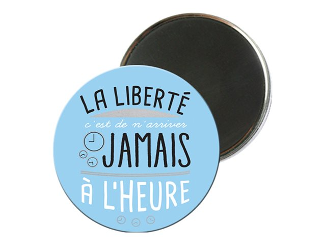 Kiub Typography - Magnet rond en verre - Liberté