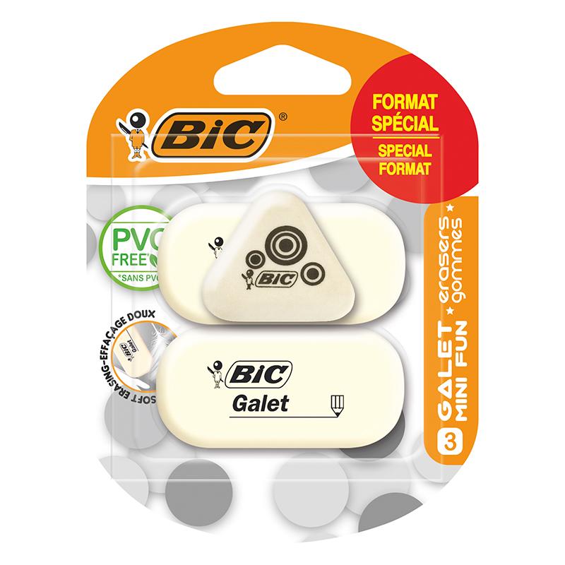 BIC - Pack de 3 gommes : 2 gommes galet et 1 mini gomme fun