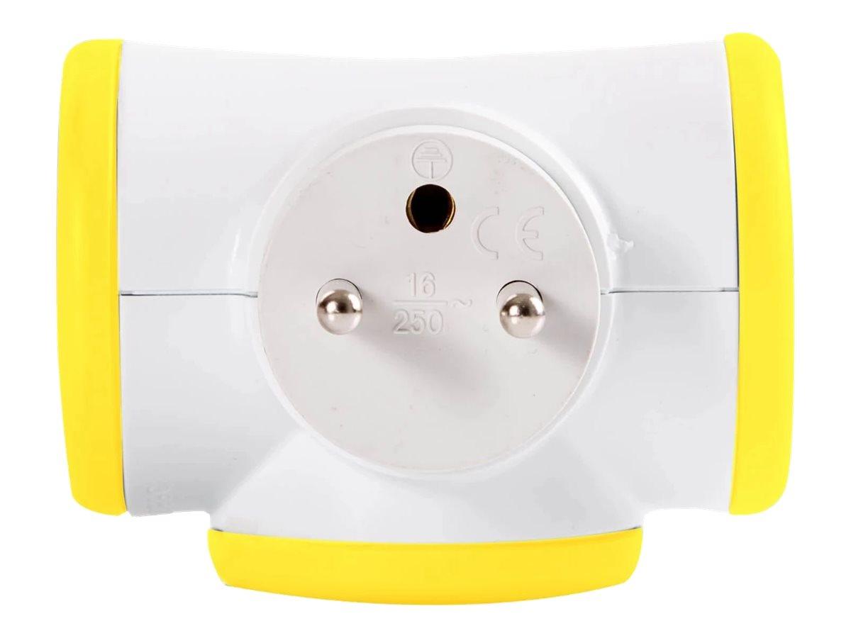 WATT & CO - Multiprise triplite rotative - blanc/jaune