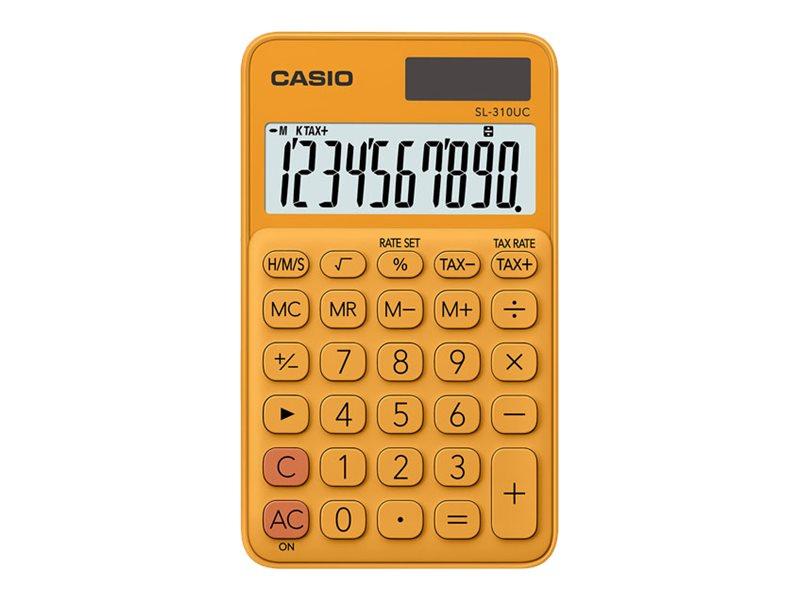 Calculatrice de poche Casio SL-310UC - 10 chiffres - alimentation batterie et solaire - orange