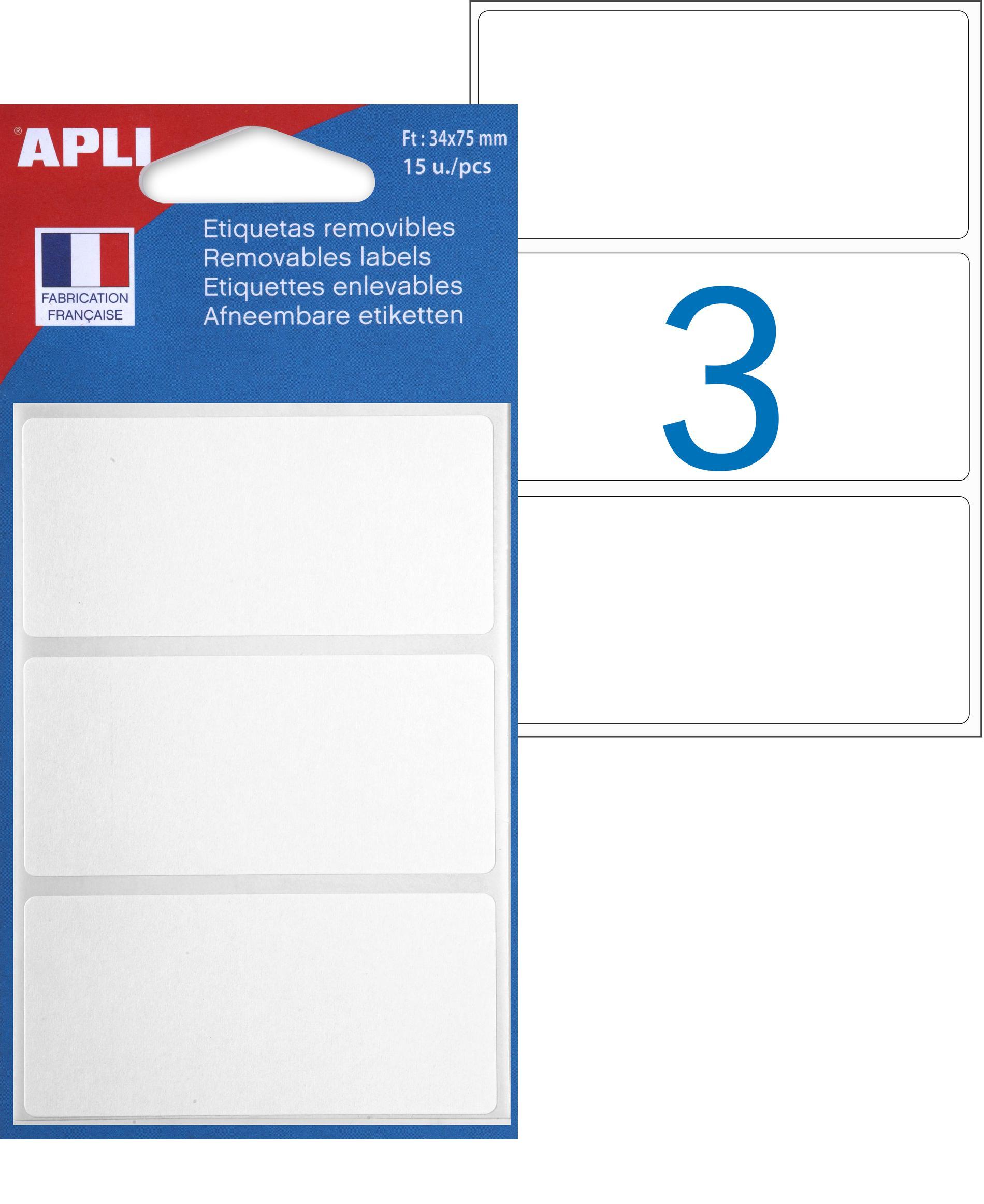 Apli Agipa - 15 Étiquettes enlevables blanches - 75 x 34 mm - Coins arrondis - réf 101095