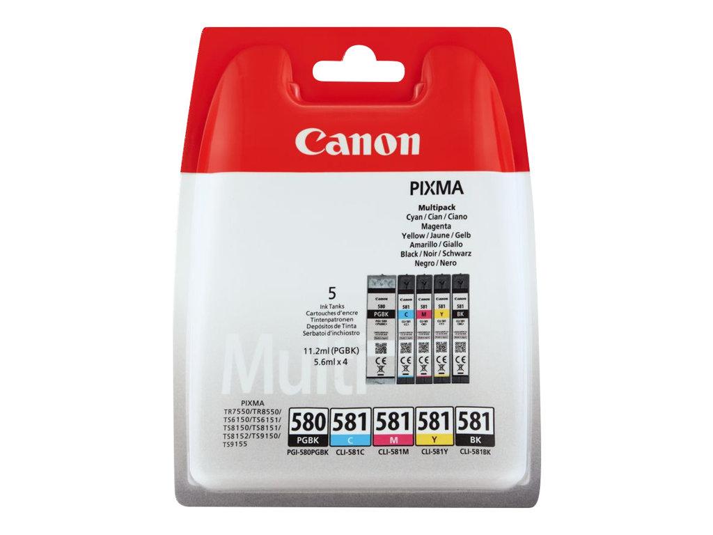 Canon PGI-580/CLI-581 - Pack de 5 - noir, noir photo, cyan, magenta, jaune - cartouche d'encre originale