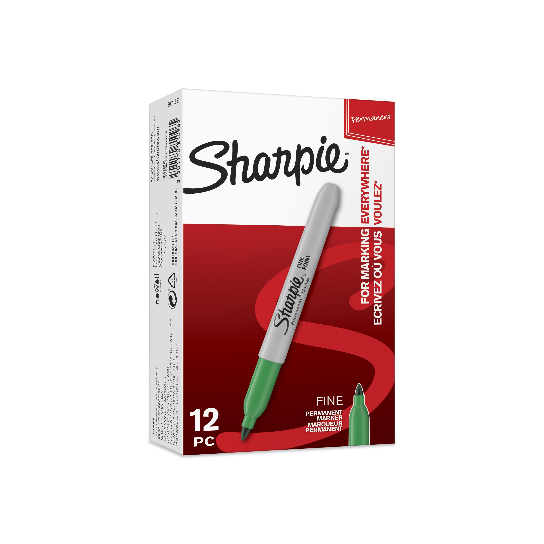 Sharpie - Pack de 12 marqueurs permanents - pointe fine - vert