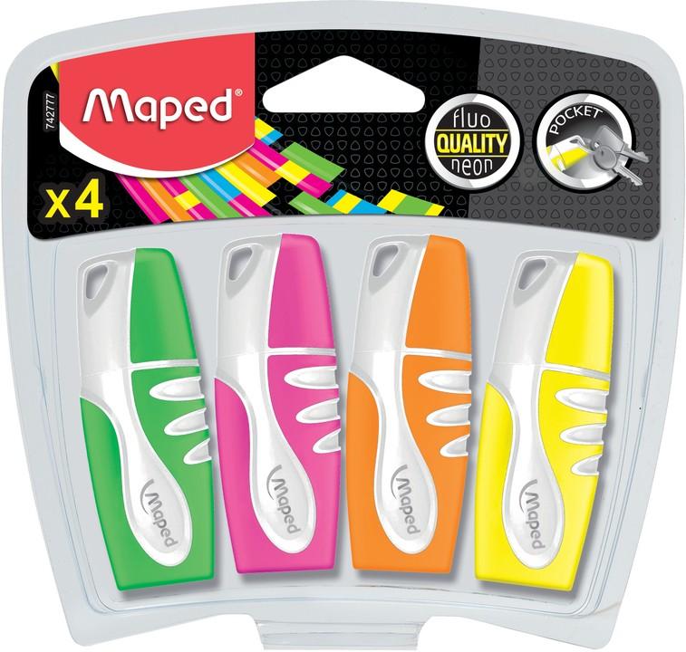 Maped Fluo Peps Pocket - Pack de 4 surligneurs - couleurs assorties