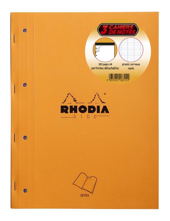 LOT DE 3 RHODIA SIDE 223X297 160P PERF 4T 5/5