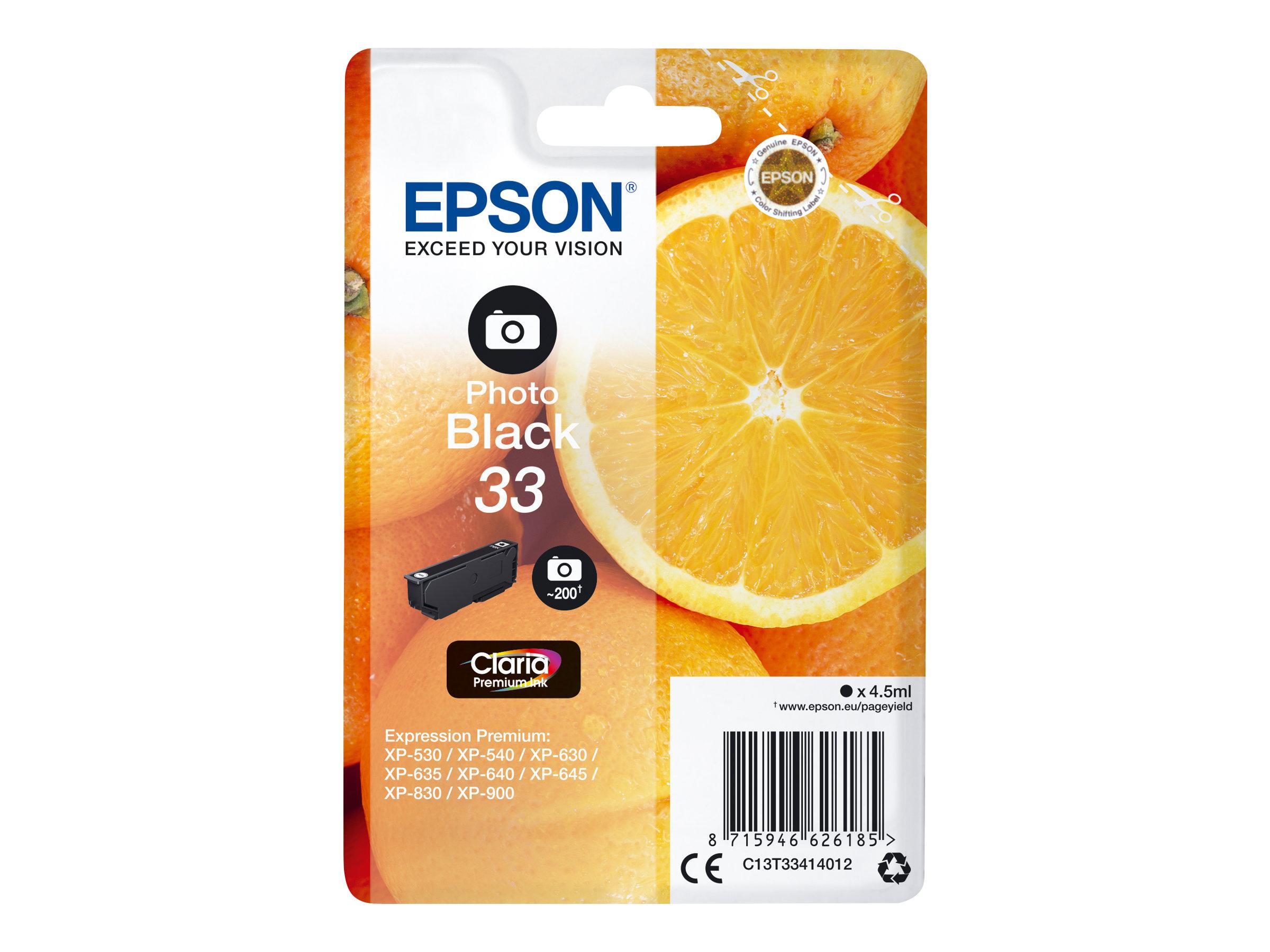 Epson 33 Oranges - noir photo - cartouche d'encre originale
