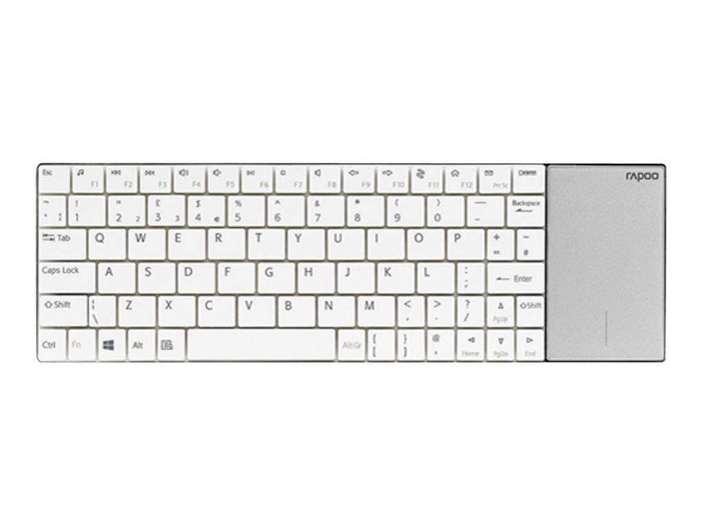 Rapoo E2710 - clavier sans fil Azerty - ultra plat et touchpad - blanc