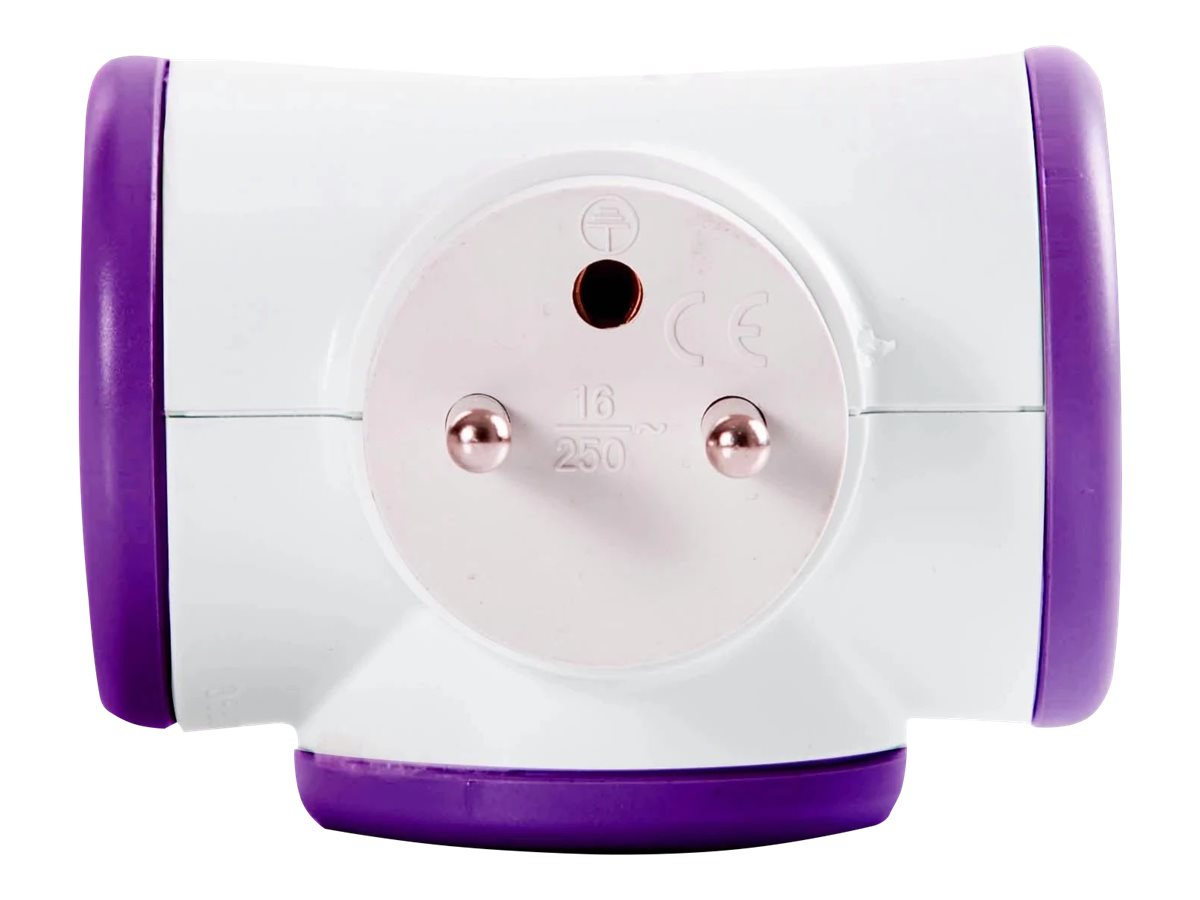 WATT & CO - Multiprise triplite rotative - blanc/violet