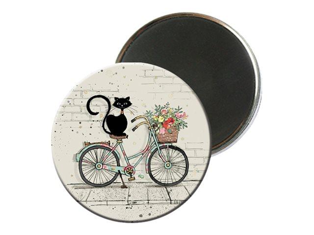 Kiub Bug Art - Magnet rond en verre - Chat sur vélo
