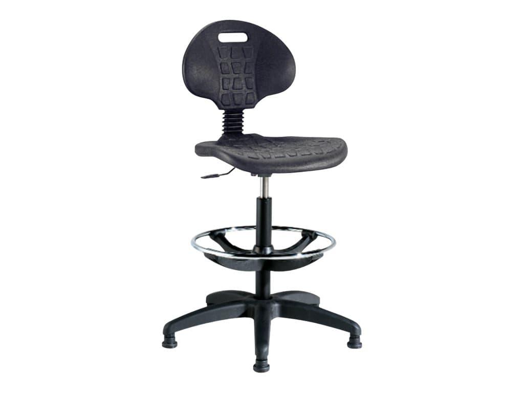 Siège technique POLO - tabouret assis-debout - hauteur réglable jusqu'à 81 cm - repose-pieds réglable - dossier - Noir
