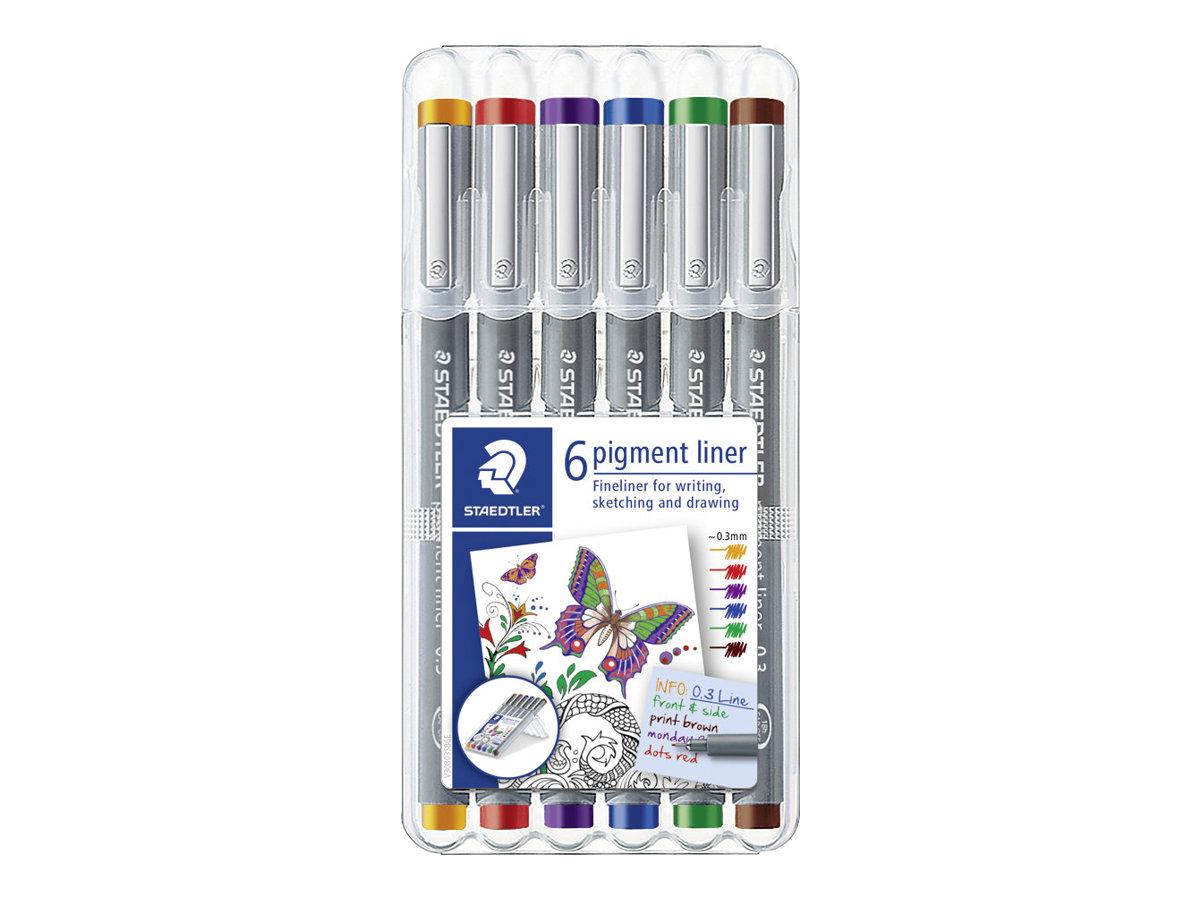 STAEDTLER pigment liner - Pack de 6 Feutres fins - 0.3 mm - couleurs assorties