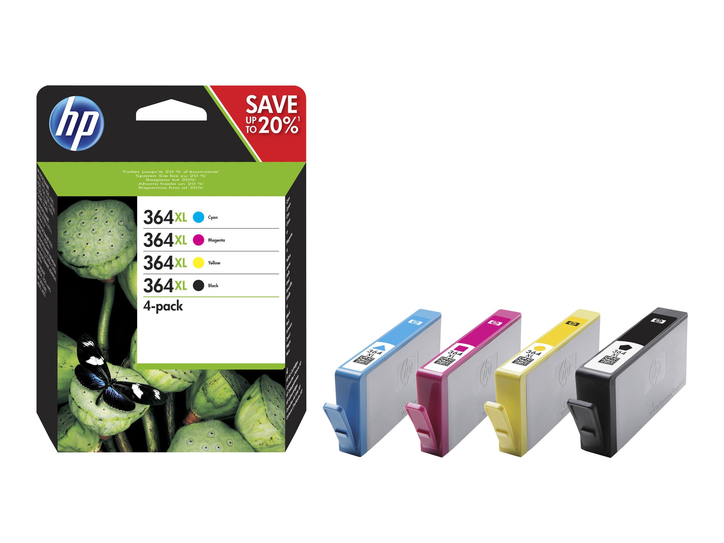 HP 364XL - Pack de 4 - noir, cyan, magenta, jaune - cartouche d'encre originale