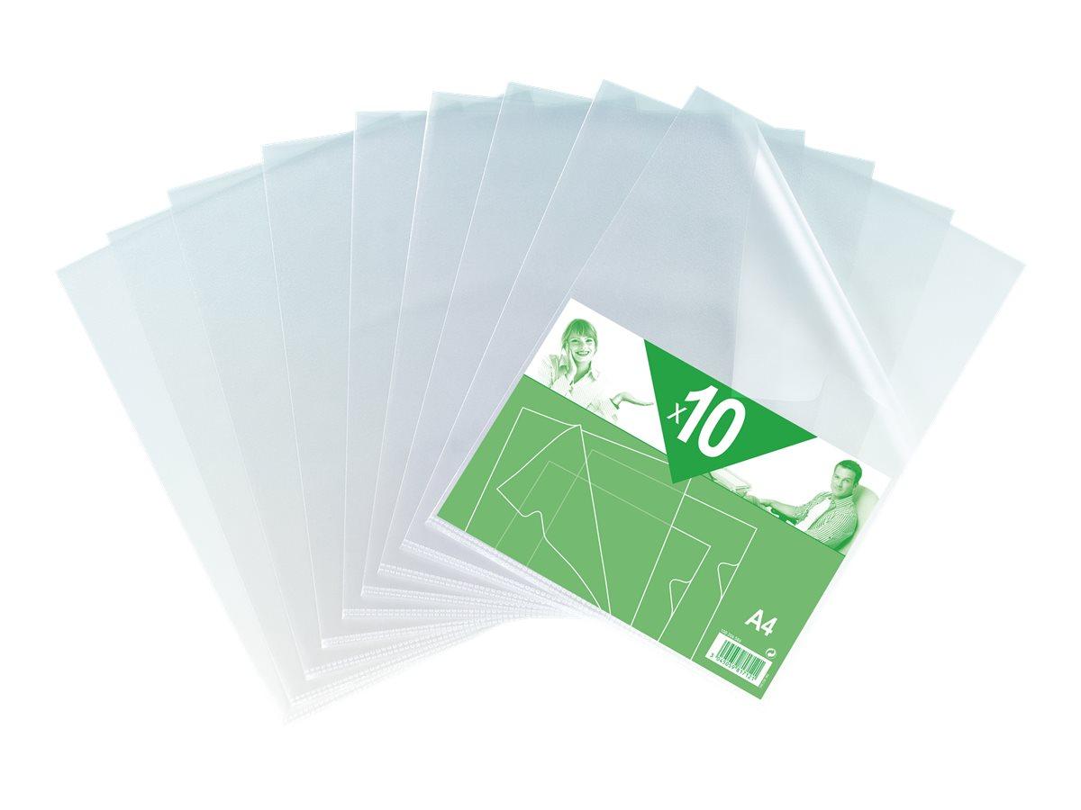 10 Pochettes coin neutres - A4 - pour 25 feuilles - 12/100 - incolore