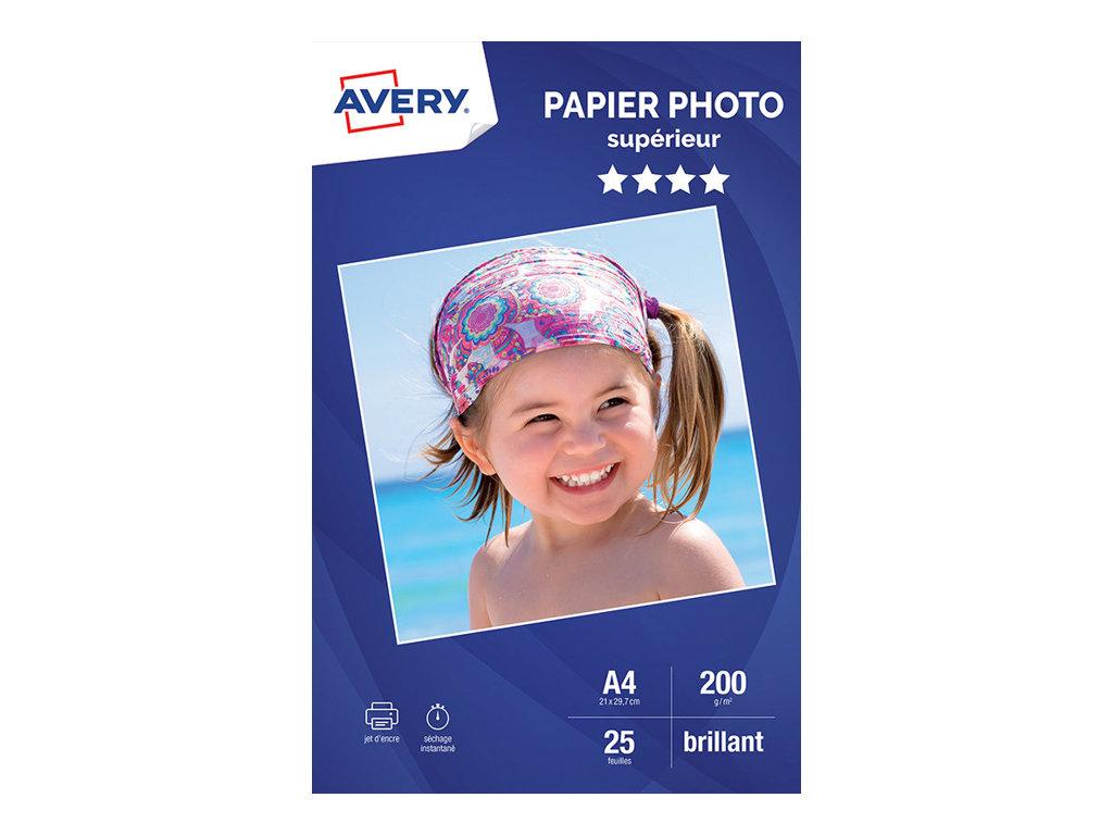 Avery - Papier Photo brillant - A4 - 200 g/m² - impression jet d'encre - 25 feuilles