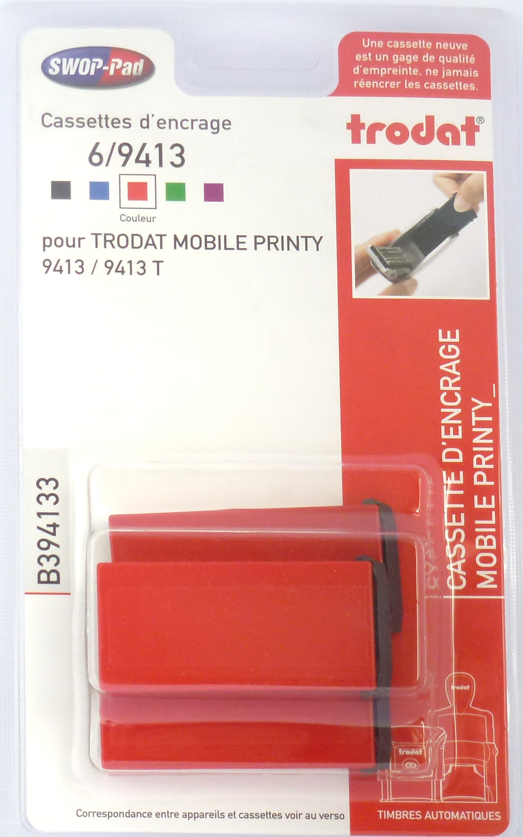 Trodat - 3 Encriers 6/9413 recharges pour tampon Mobile Printy 9413 - rouge