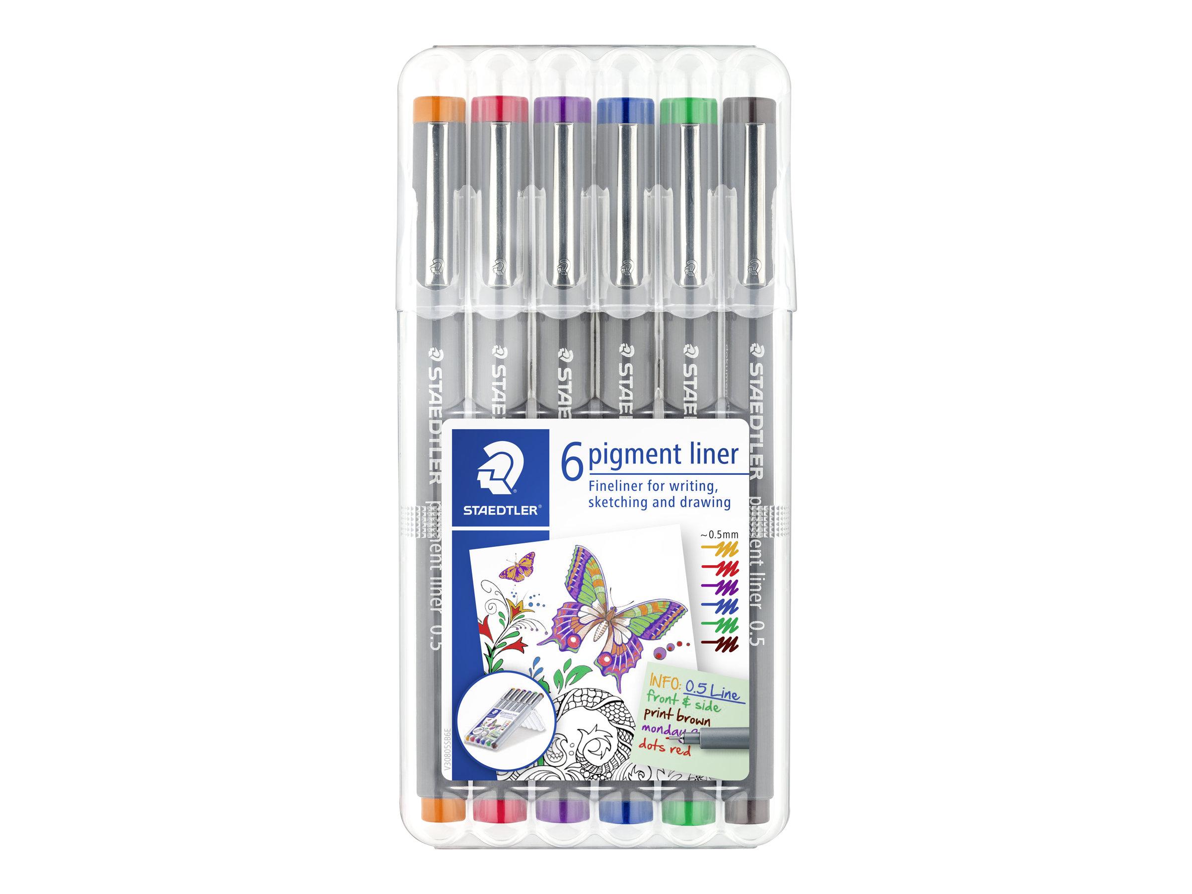 STAEDTLER pigment liner - Pack de 6 Feutres fins - 0.5 mm - couleurs assorties